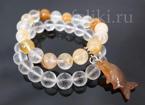 комплект браслетов из кварца и прозрачного горного хрусталя с подвескй_фото