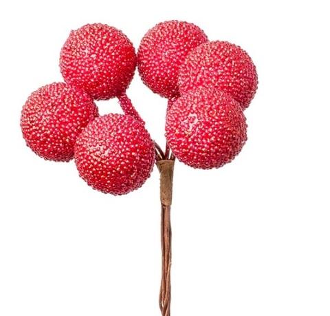 Набор шариков засахаренных на вставках 6шт., размер: D2,2xL11см, цвет: красный