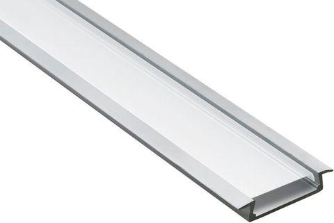 Профиль алюминиевый встраиваемый широкий, серебро, CAB252 2000x10x20мм