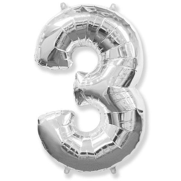 Фольгированная цифра 3, серебро
