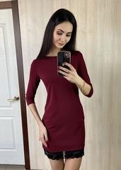 Гала. Повсякденне просте плаття з мереживом. Бордо