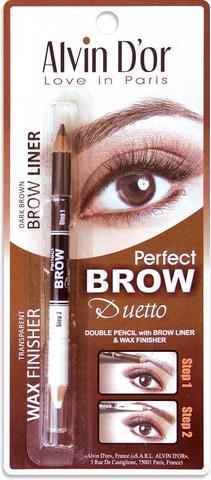 Alvin D`or P1-4 Дуэт для бровей двойной карандаш+Воск Brow Perfect (тон 02 Dark Brown)