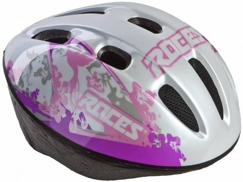301428-WP JR Шлем защитный для девочек ROCES Kid helmet белый/пурпурный р.JR