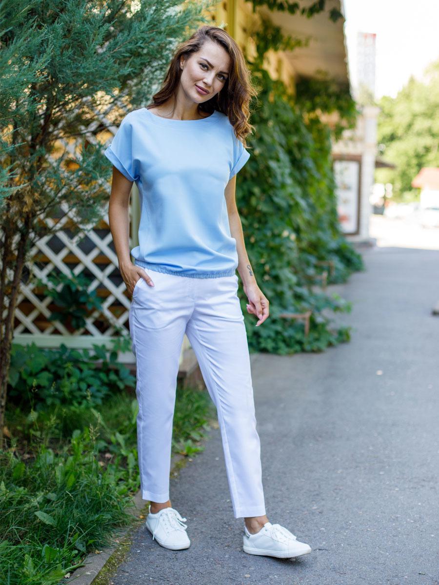 Модная блуза медицинская Бл-1019 MediS.moda голубая