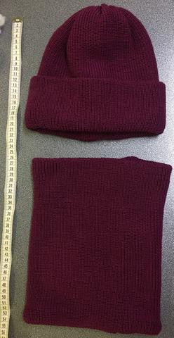 Зимняя объемная шапочка бини с отворотом и шарф-воротник