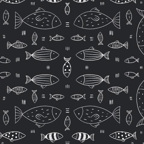 Рыбки сканди (черно-белый принт)