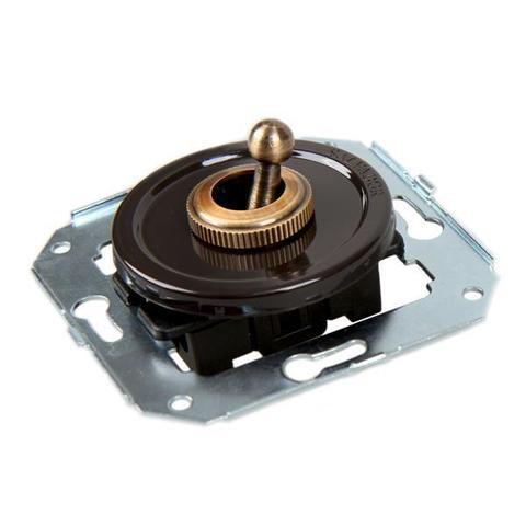 Выключатель тумблерныйный двух позиционный для внутреннего монтажа проходной. Цвет Коричневый. Salvador. CL41BR