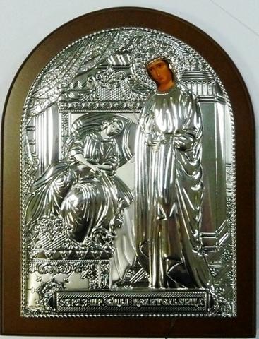 Серебряная икона Божией Матери Целительницы 16х12см