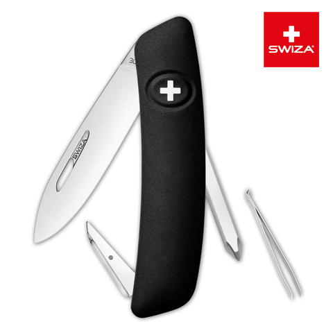 Швейцарский нож SWIZA D02 Standard, 95 мм, 6 функций, черный (блистер)
