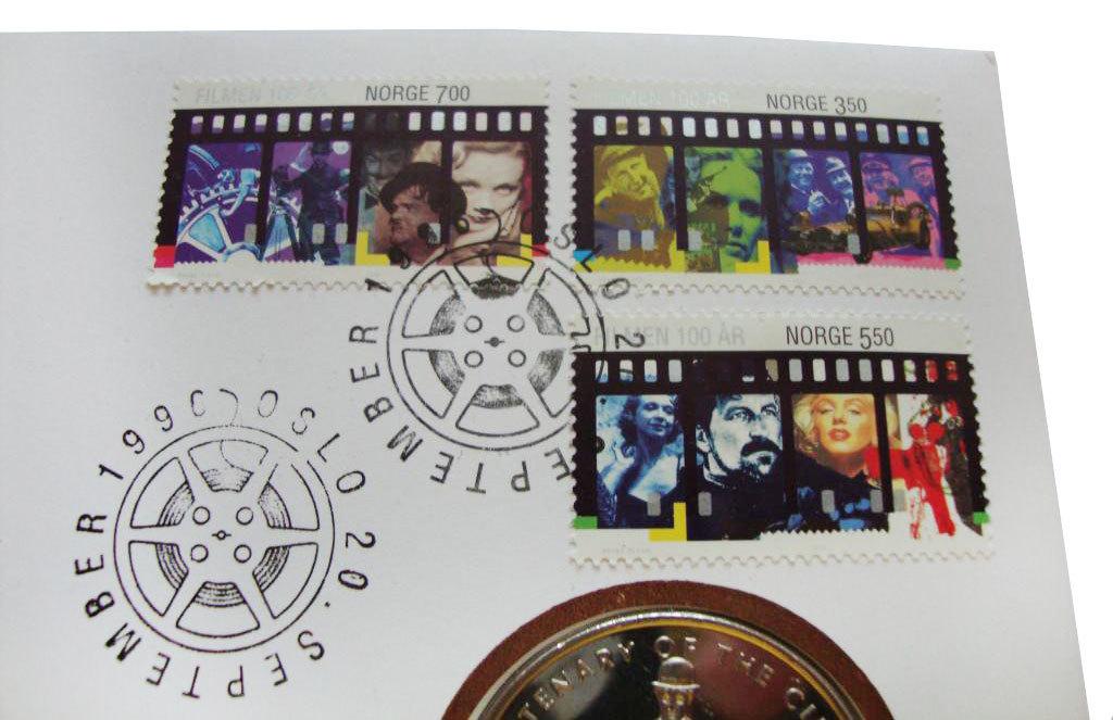 1 крона. Чарли Чаплин 100 лет кино. Гибралтар. 1996 год (в конверте со спецгашением)