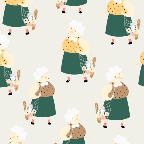 Милый паттерн с бабулями