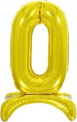К Шар цифра (32''/81 см) , 0 на подставке, Золото, 1 шт. в упак.