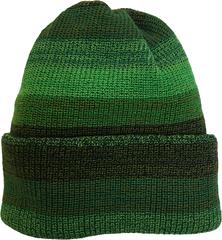 Зимняя шапка бини с отворотом в зеленую полоску