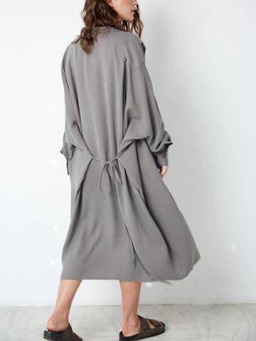 Платье-рубашка свободного кроя из тенсела Темно-серый