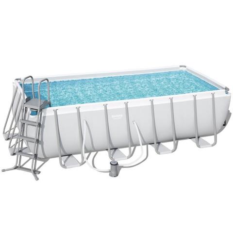 Каркасный бассейн Bestway 56670 (488х244х122 см) с картриджным фильтром, лестницей и тентом / 18200