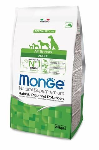 купить сухой корм Monge Speciality Line Adult All Breeds Rabbit, Rice and Potatoes для взрослых собак всех пород с кроликом, рисом и картофелем