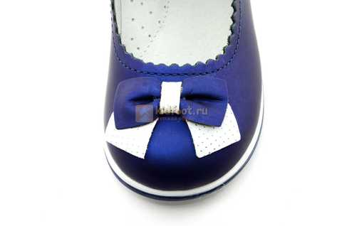 Туфли ELEGAMI (Элегами) из натуральной кожи для девочек, цвет темно синий металлик, артикул 7-805761502. Изображение 10 из 13.