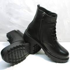 Черные ботинки демисезонные женские Misss Roy 252-01 Black Leather.