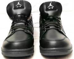 Черные кроссовки кеды зимние мужские Nike Air Jordan 1 Retro High Winter BV3802-945 All Black
