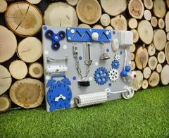 Бизиборд компакт синий с выключателем для мальчика