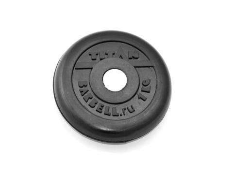 Диск для штанги стальной, цельнометаллический, обрезиненный. Диаметр внутренний 26 мм. Вес 1 кг