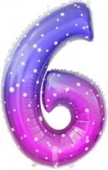 К Цифра 6 Сияющий космос, Сиреневый, Градиент, 34