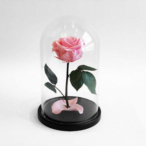 Роза в колбе розовая (размер S, mini)