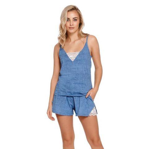 Голубая пижама с майкой и шортами