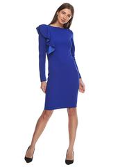 Платье-крылышко с воланом электрик