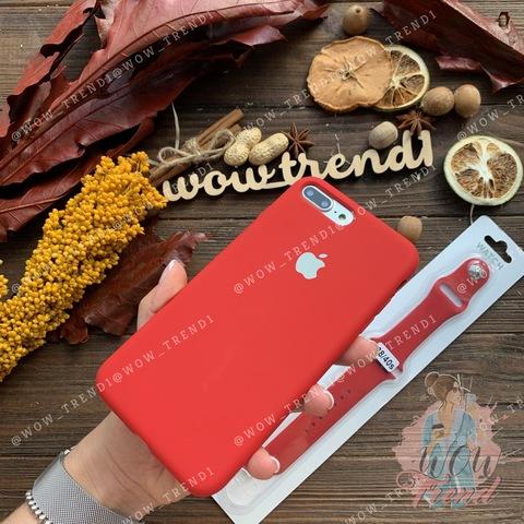 Чехол iPhone 7+/8+ Silicone Case Full /camellia white/ винный