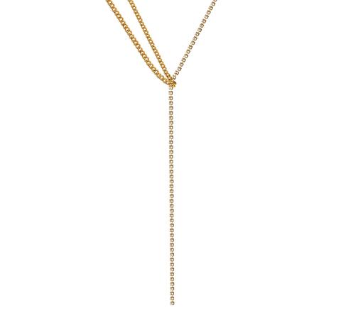 Колье-галстук с цепочкой из кристаллов