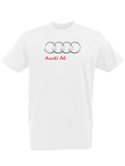 Футболка с принтом Ауди A6 (Audi A6) белая 0008