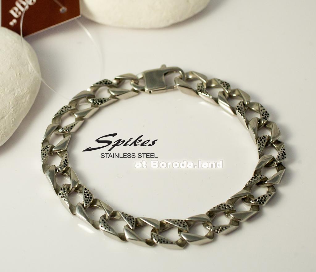 SSBH-0545 Стильный мужской браслет «Spikes» из стали (21 см)