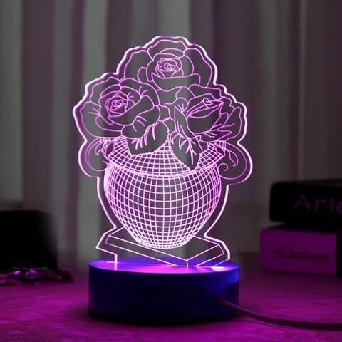 Светильники 3D Ваза с цветами