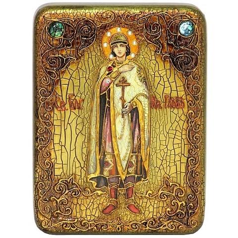 Инкрустированная икона Святой благоверный князь Глеб 20х15см на натуральном дереве, в подарочной коробке