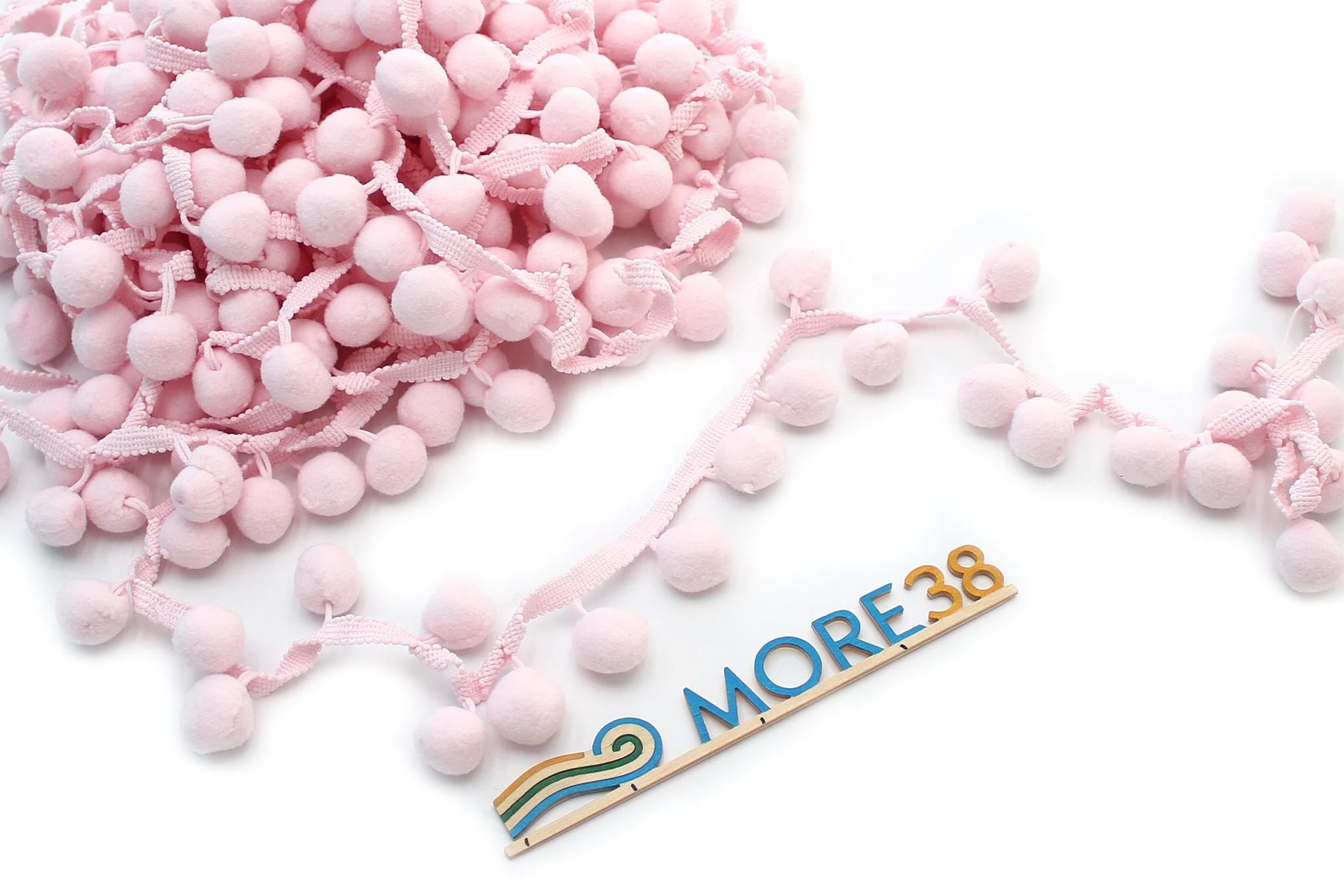 Помпоны нежно-розовые,2 см