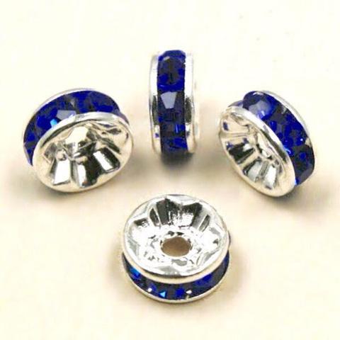Рондель со стразами 8 мм. платина - прямая обжимка синий