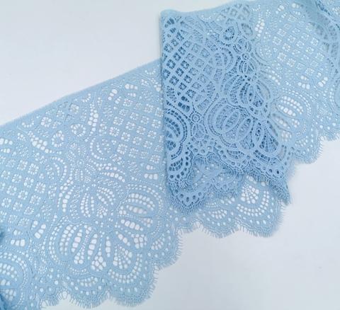 Кружево шантильи, 26см, нежно-голубой, (Арт: SK-1011), купон (2,95м)