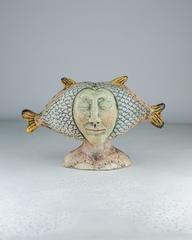 Скульптура из шамотной глины «Под знаком рыбы», 17х30х19 см, Falco Ceramic