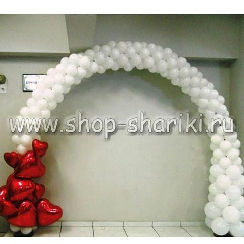 Арка из шаров на свадьбу волна сердец