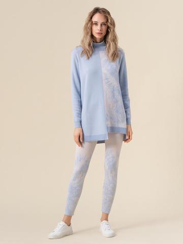 Женский свитер голубого цвета из кашемира и вискозы - фото 5