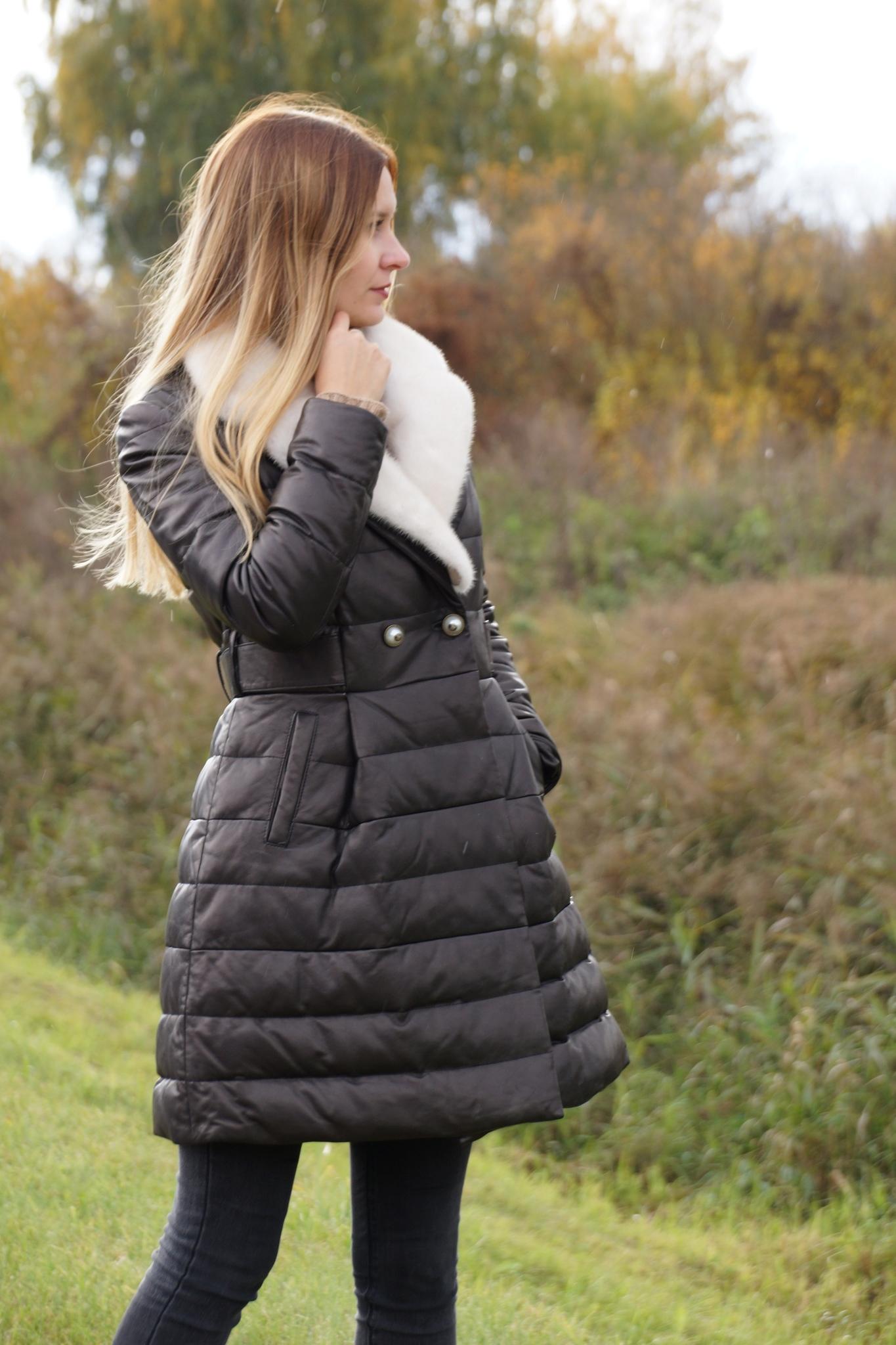 Пальто из натуральной кожи New Style