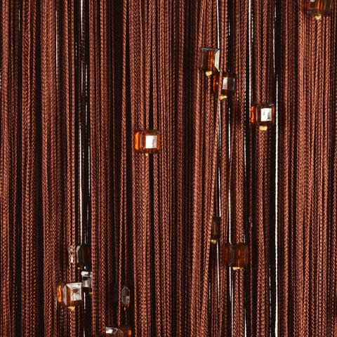 Нитяные шторы с бусинами (кубики) - Коричневые. Ш-300см., В-280см. Арт.8