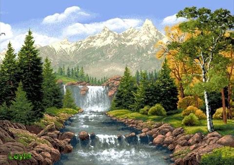 Алмазная Мозаика 20x30 Водопад и горы