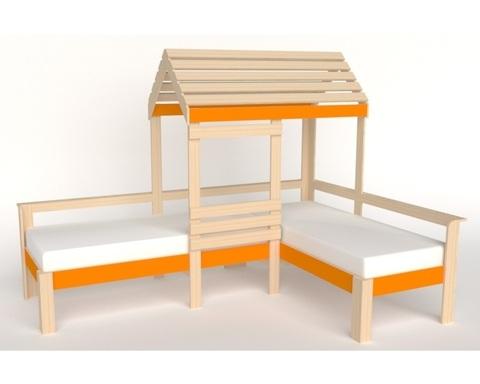 Кровать АВАРА-4 со стенкой и крышей левая