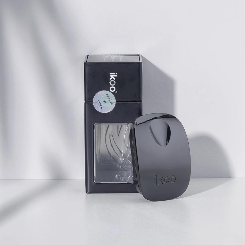 ikoo pocket black | расческа-детанглер для сумочки классическая черная