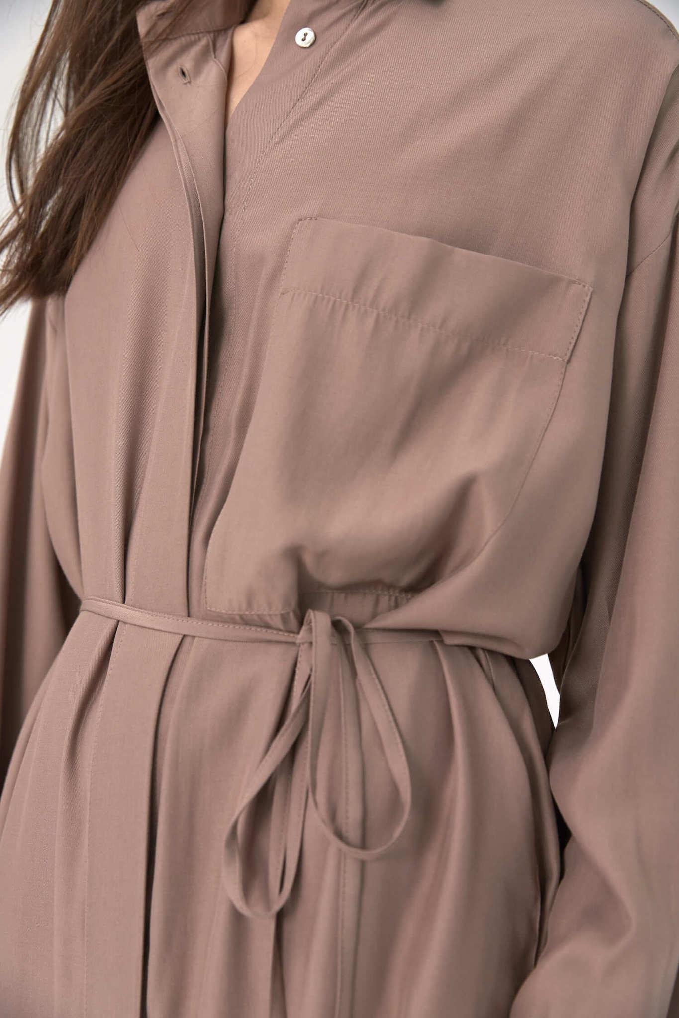 Платье-рубашка под пояс, молочный шоколад