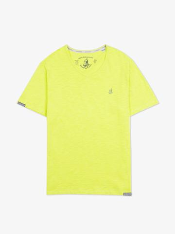 Мужская футболка «Великоросс» салатового цвета V ворот