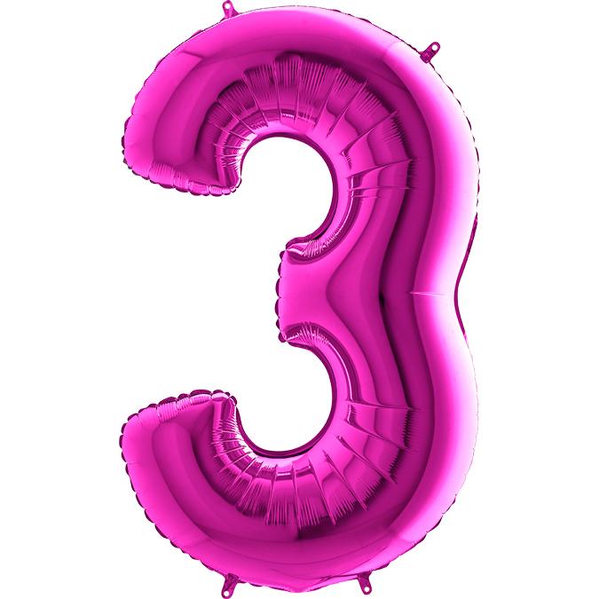 Цифра фуксия 3