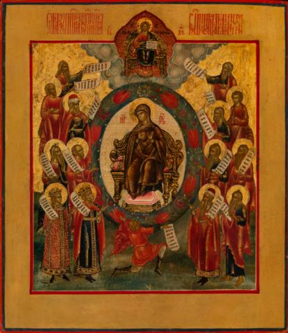 Икона Похвала Богородицы на дереве на левкасе мастерская Иконный Дом